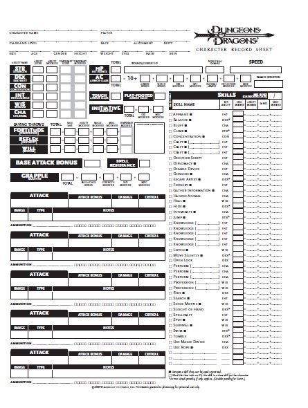 D&D 3.5 Character Sheet Free Download