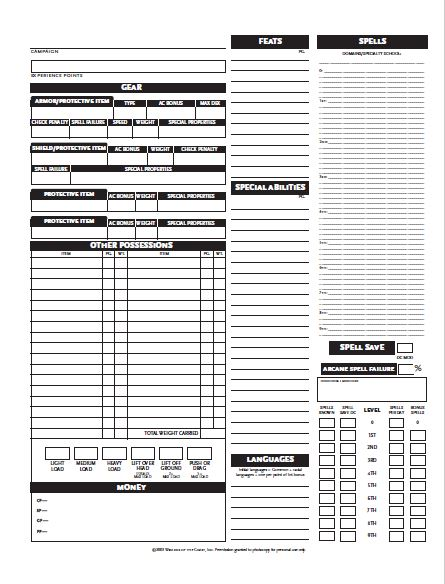 graphic about Dungeons and Dragons Printable Character Sheet named DD 3.5 Personality Sheet PDF Information - Dungeons and Dragons