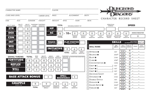 D&D 5e character sheet download