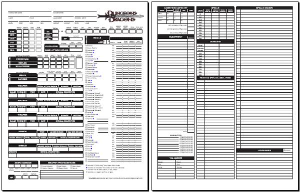 D&D 3.5 Character Sheet